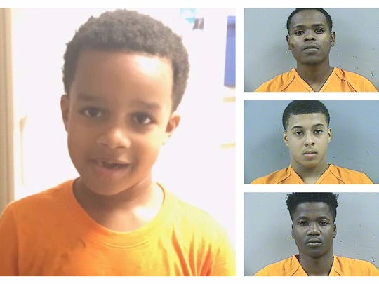Kingston Frazier (left), 6, was brutally shot to death after his mother's car was stolen from the Kroger on I-55. Byron McBride (top right), Dwan Wakefield (center), and DeAllen Washington have been charged with capital murder in his death.