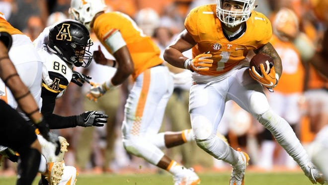 Tennessee running back Jalen Hurd (1) carries the ball against Appalachian State during the second half at Neyland Stadium on Thursday, Sept. 1, 2016. (SAUL YOUNG/NEWS SENTINEL)