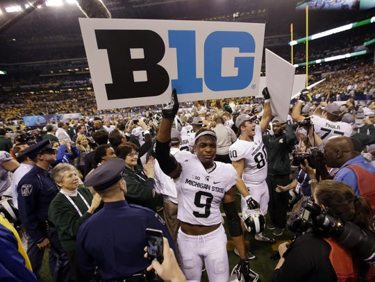 Michigan State's Montae Nicholson (9) celebrates after