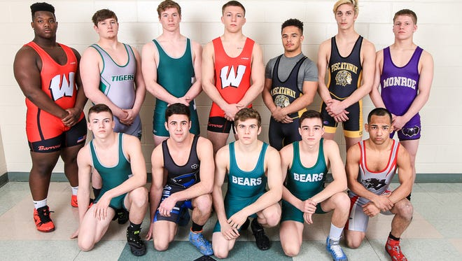 Home News Tribune All-GMC wrestling team photographed at East Brunswick High School on March 16, 2017. Bottom Row (from L to R): 106 Joseph Pacheco, Perth Amboy, Jr.; 113 Mitchell Polito, East Brunswick, Jr.; 126 Alec Gleason, East Brunswick, Sr.; 138 Bob Dinger, Middlesex, Sr.; 132 Aaron Coleman, J.F. Kennedy, Jr. Top Row (from L to R): 145 Nick Lombard, Monroe, Sr.; 152 Joseph Hatcher, Piscataway, So.; 160 Michael Petite, Piscataway, Jr.; 170 Bryan McLaughlin, Woodbridge, Sr.; 182 Sean Aston, J.F. Kennedy, Sr.; 220 Zach DelVecchio, South Plainfield, So.; 285 Alex LaGrippo, Woodbridge, Sr.