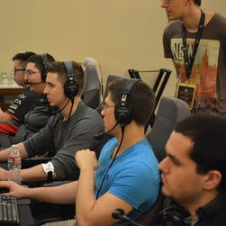"""compLexity Gaming team member Kyle """"Swindlemelonzz"""" Freedman participates in a match at The International Dota 2 Championships in Seattle."""