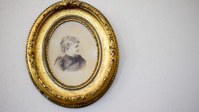 A portrait of Louise Carpenter that hangs in the Willard Library.  The Grey Lady ghost that haunts the library is believed by some to be the spirit of Louise Carpenter.