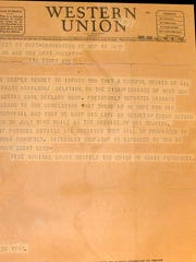 A Western Union telegram informs the family of Seaman 2nd Class Lester E. McClary that he is missing in action.