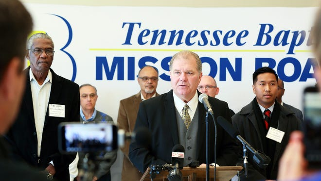An ethnically diverse group of pastors joined Randy Davis, center, president and executive director of the Tennessee Baptist Mission Board,  on Oct. 25, 2017, in Nashville to condemn the White Lives Matter white supremacist movement, which was having two rallies in Middle Tennessee over the weekend.