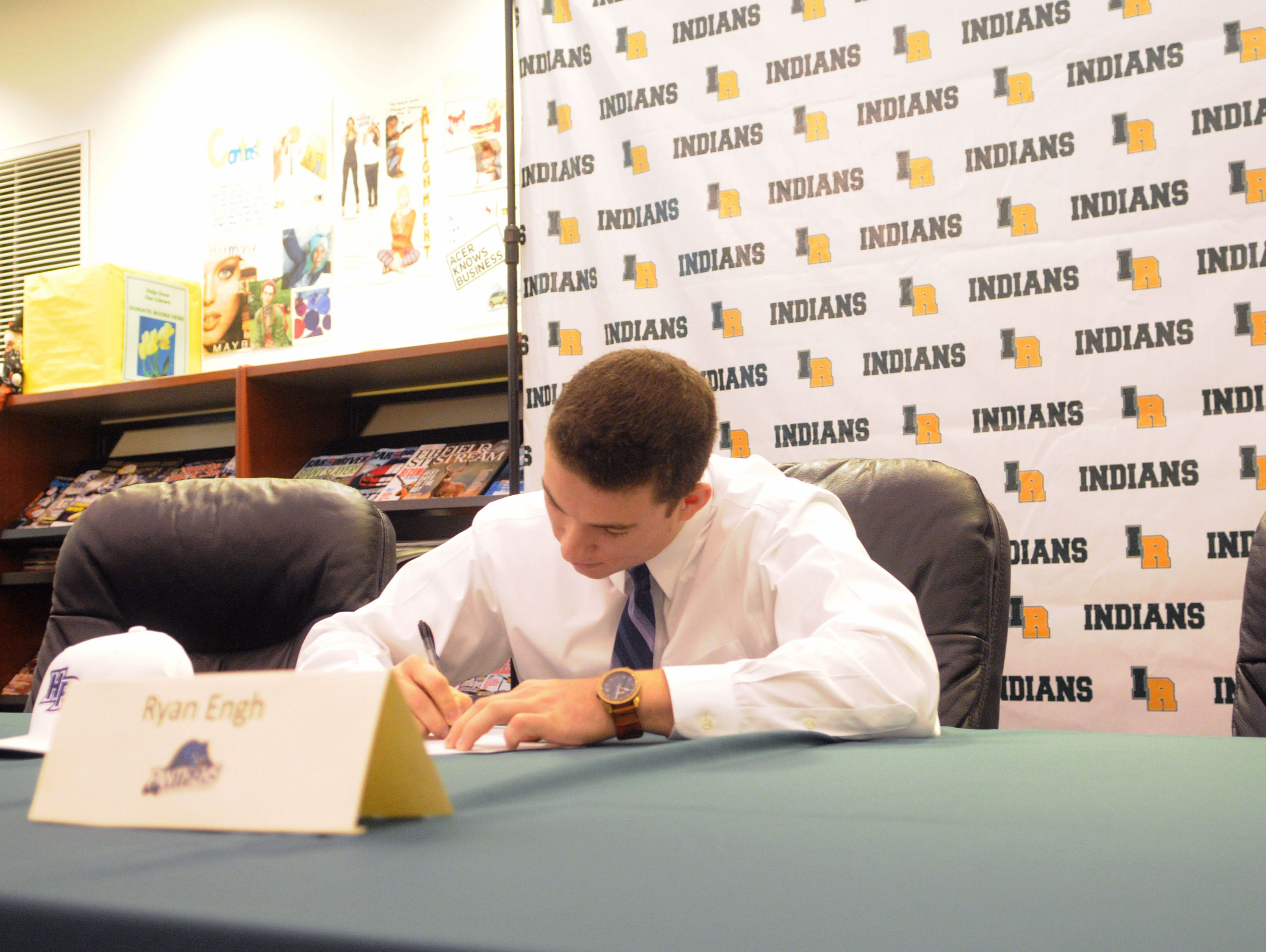 Indian River's Ryan Engh signs his national letter of intent to play baseball at High Point University.