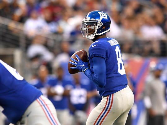 New York Giants quarterback Josh Johnson (8) in the first quarter of the preseason game between the New York Giants and the Pittsburgh Steelers in East Rutherford, NJ on Friday, August 11, 2017.