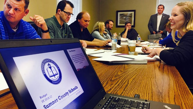 Director of Schools Del Phillips, standing, presents his $234 million 2016-17 budget to members of the Sumner County education and budget committees  Thursday, May 26, 2016.