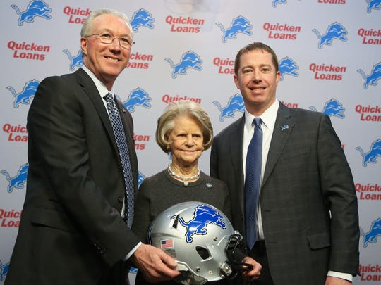 Lions president Rob Wood, owner Martha Firestone Ford and new and general manager Bob Quinn.