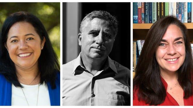 From left, Austin ISD school board candidates Leticia Moreno Caballero, John Mckiernan-Gonzalez and Lynn Boswell.