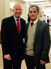 Gov. Jack Markell poses with Vidadi M. Yusibov, executive director of Newark's Fraunhofer USA Center for Molecular Biotechnology, at the New Technologies, New Vaccines 2015 conference at the Hotel DuPont.