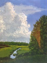"""""""Wind Power,"""" painting by Carl Hornstad, part of the"""