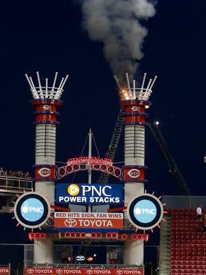 A smokestack catches fire at Great American Ball Park.