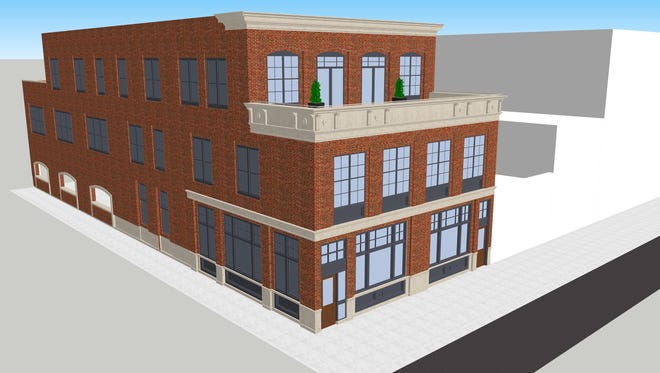 A new restaurant-apartment building is planned for downtown Mason if key funding comes through.