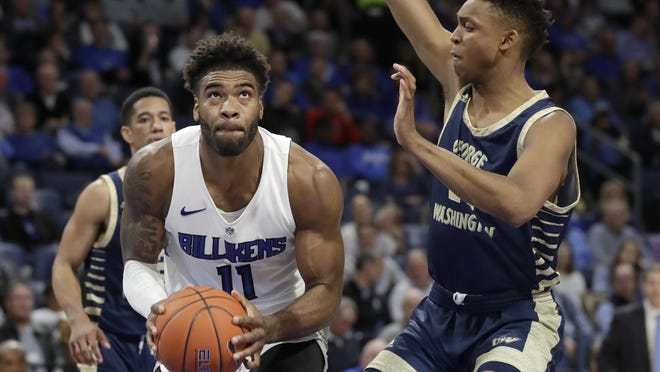 Middletown's Hasahn French is returning to Saint Louis for his senior season after testing the NBA Draft waters. French averaged a double-double in points and rebounds his junior year for the Billikens. JEFF ROBERSON/AP