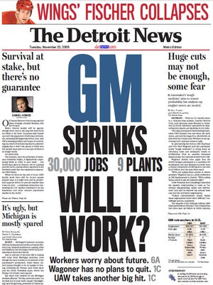 The front page of The Detroit News on Nov. 22, 2005.