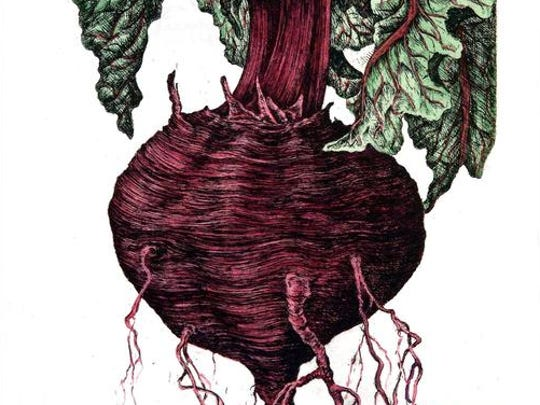 This beet print by Janice Bond is among her favorites that she is bringing to the Salem Art Fair this year.