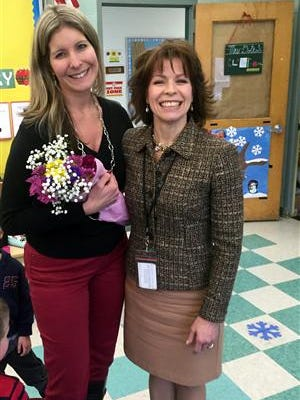 Marisa Dotro of Three Bridges School with Superintendent Barbara Sargent