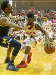 Robert Johnson (right) would be the Hoosiers' most experienced player on the 2017-18 roster.