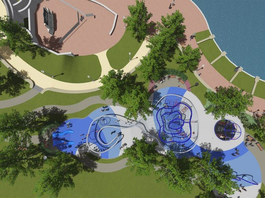 Rendering of an aerial view of the Downtown Indy Canal Play Space.