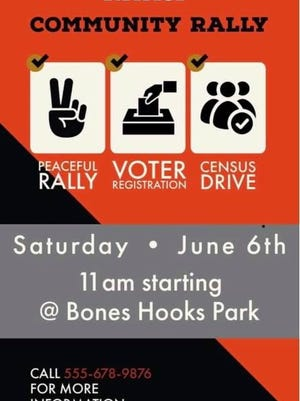 Poster for Saturday's Community Rally, hosted by the Amarillo branch of the NAACP.