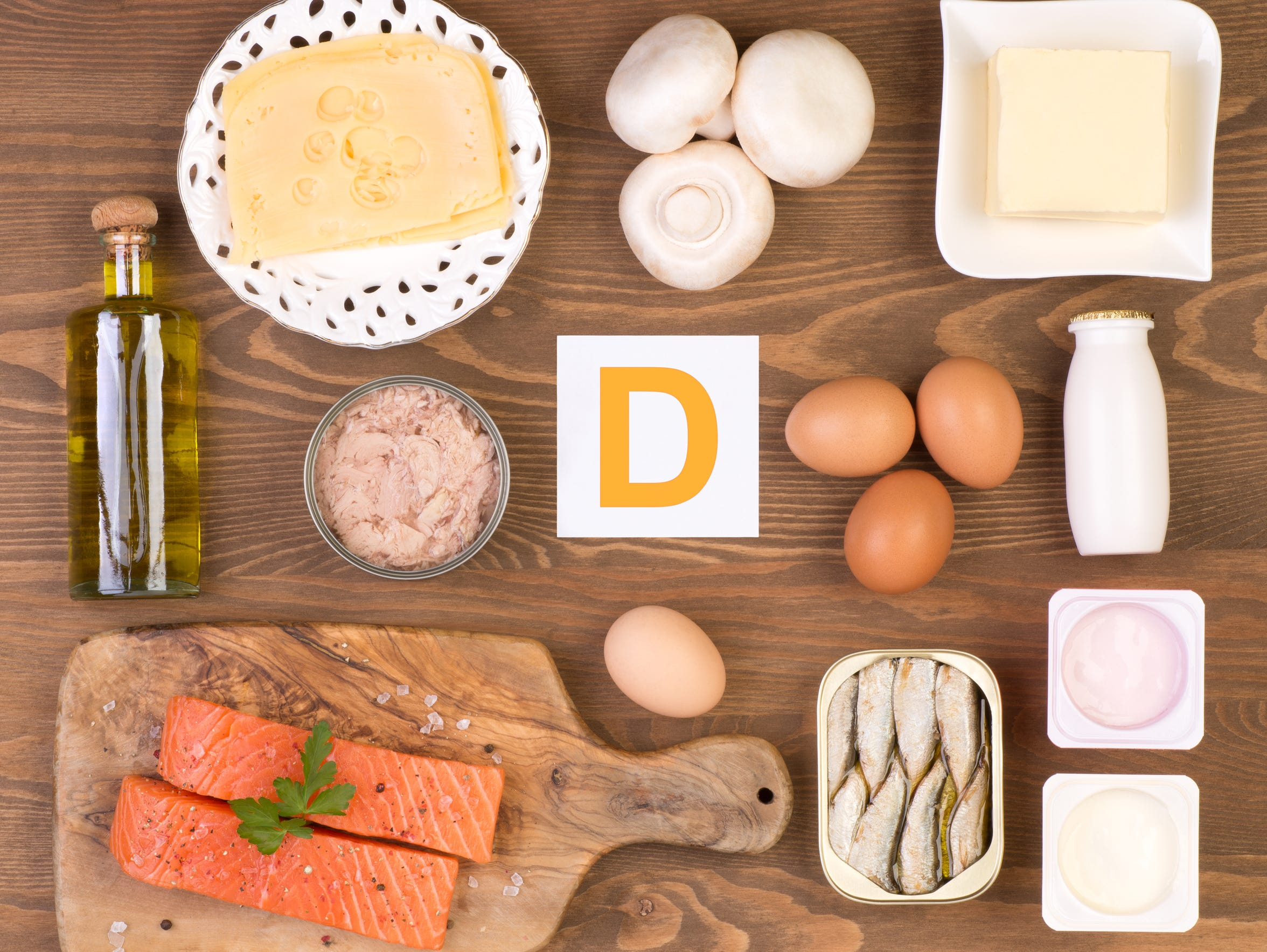 Vitamin D containing foods such as fatty fish, egg