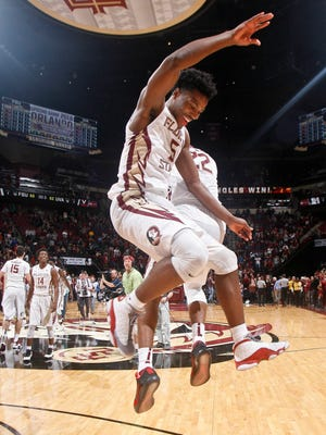 Florida State Seminoles guards Malik Beasley celebrates after a win against Virginia.