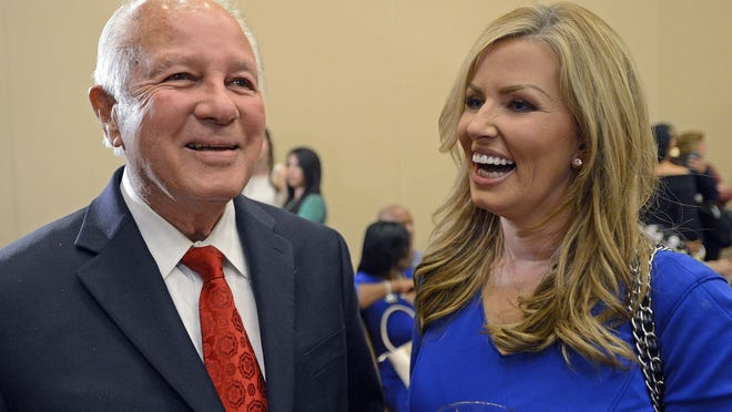 Former Gov. Edwin Edwards is pictured here with his wife Trina Scott Edwards in 2014.