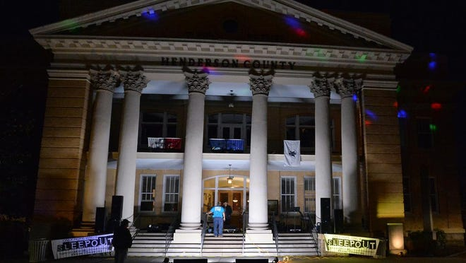 In this Nov. 13, 2007 photo, 21 people sleep on the steps of the Henderson County Historic Courthouse as part of Only Hope WNC's annual Sleepout fundraiser to raise awareness for homeless youth in Western North Carolina.