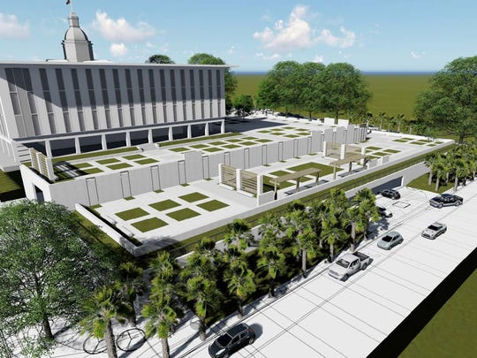 A proposed rendering of the Florida State Senate and cultural park.