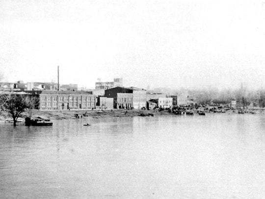 The Henderson Riverfront is shown from a river vantage point during the 1937 flood.