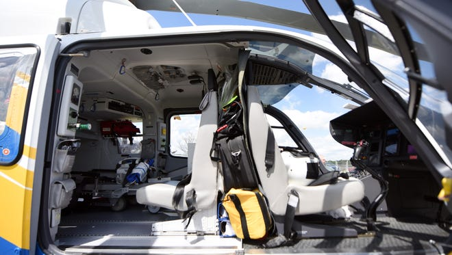 The inside of a Med-Trans helicopter at the Hattiesburg Bobby L. Chain Municipal Airport. Patients have complained about enormous medical bills following ambulance rides from Med-Trans.