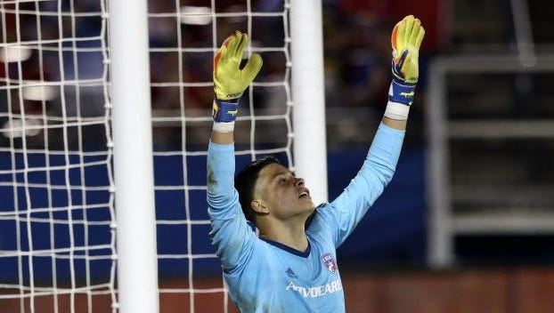 FC Dallas goalkeeper Jesse Gonzalez reacts after a victory against the Minnesota United at Toyota Stadium.