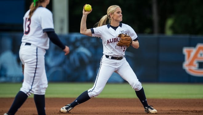 Auburn's Whitney Jordan throws an out to first base against Arizona in the 1st inning during the NCAA Super Regional on Saturday, May 28, 2016 at Jane B. Moore Field in Auburn, Ala. Arizona won, 5-3.