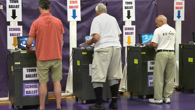 Voters line up at ballot boxes at Marshwood Middle School in Eliot, Maine, during the state primary election on June 12, 2018.