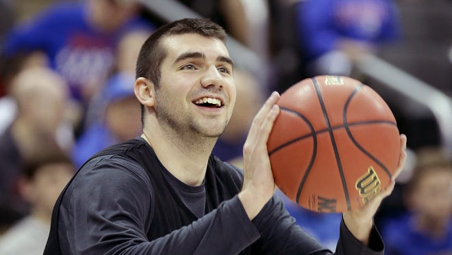 Purdue Boilermakers guard Dakota Mathias (31) during their NCAA Midwest Regional practice Wednesday at the Sprint Center in Kansas City, Mo.