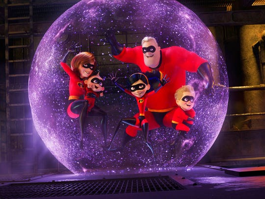 "A scene from ""Incredibles 2,"" playing at Regal West"