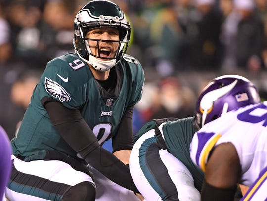 Nick Foles joined Joe Montana as the only quarterbacks to complete 75 percent of their passes in back-to-back postseason games.