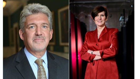 Dr. David L. Dunn, executive vice president for health affairs, left, and Priscilla Hancock, the university's chief financial officer,  were placed on leave.