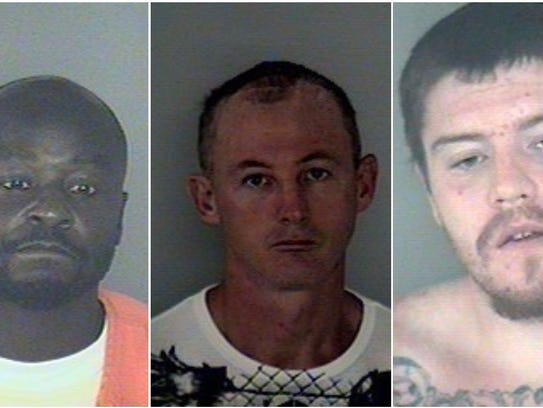 Donald Cotterman, left, and Joel Cooper, center, remain at large after breaking out of the Wakulla County Jail. They have been connected to several burglaries in Virginia and are considered armed and dangerous.