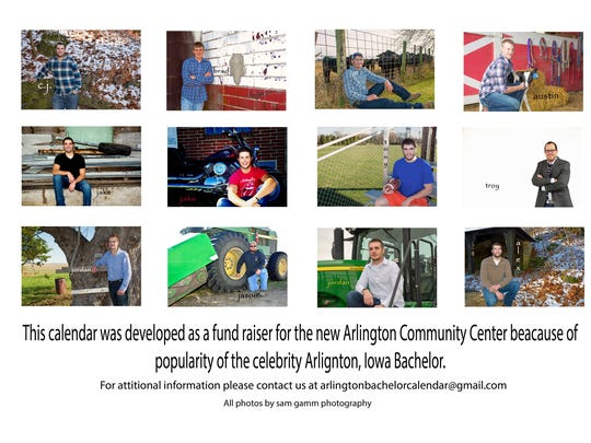 This is the back page of the new calendar, The Other Bachelors of Arlington, Ia. The calendar is a fund-raiser for the northeast Iowa town's community center.