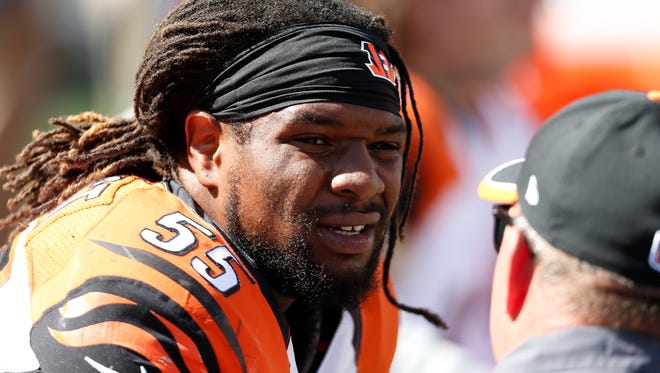 Cincinnati Bengals outside linebacker Vontaze Burfict (55) sits on the bench in pain after taking a knee to the head from teammate outside linebacker Emmanuel Lamur (59) against the Atlanta Falcons at Paul Brown Stadium. The Enquirer/Jeff Swinger