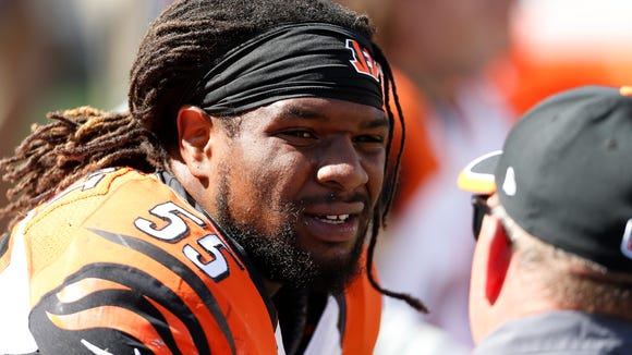 Bengals outside linebacker Vontaze Burfict sits on the bench against the Falcons on Sept. 14.