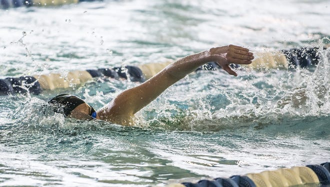 Rebecca Morel competes in the 200 Yard Intermediate Medley for Villa Walsh at the NJSIAA Non-Public B swimming semifinal at Passaic Tech in Wayne, February 15, 2016.