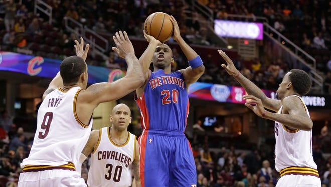 Jodie Meeks takes a shot in the regular-season finale at Cleveland.
