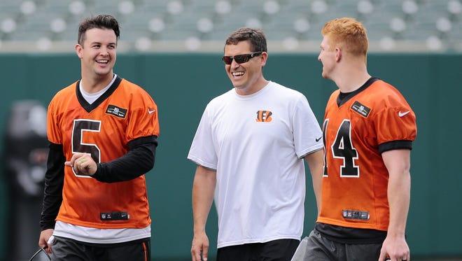 Cincinnati Bengals coach Bill Lazor, center, is the new offensive coordinator of the team.