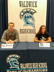 Fall Signing Day at Waldwick HS. Paige Wonsowicz to Stockton (Lax) and Spencer McNamara to Post (baseball).