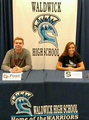 Fall Signing Day at Waldwick HS. Paige Wonsowicz to Stockton (Lax) and Spencer McNamara to Post (baseball).