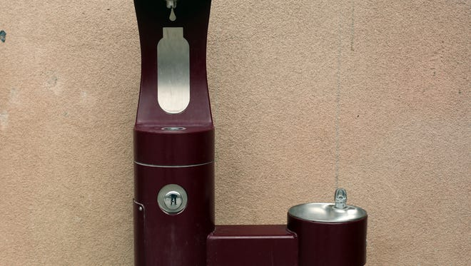 A water fountain and water bottle filling station at Toro Canyon Middle School in Thermal.