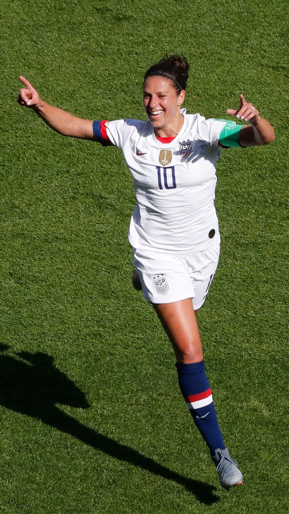 United States' Carli Lloyd celebrates after scoring the opening goal during the Women's World Cup Group F soccer match between the United States and Chile at the Parc des Princes in Paris, Sunday, June 16, 2019. (AP Photo/Thibault Camus)