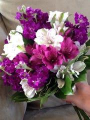 Dark Purple Alstromeria in Bouquet